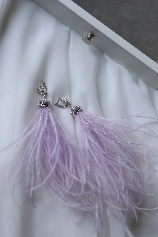 Lilac ostrich feather earrings, designer jewelry, Earrings, St. Petersburg,  Фото №1