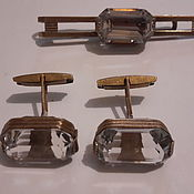 Винтаж handmade. Livemaster - original item RHINESTONE set cufflinks and tie clip vintage 1950s. Handmade.
