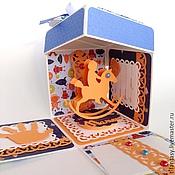 Открытки ручной работы. Ярмарка Мастеров - ручная работа Коробочка для денежного подарка на рождение мальчика magicbox. Handmade.
