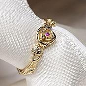 Украшения handmade. Livemaster - original item Unusual gold CHARM ring with ruby. Handmade.