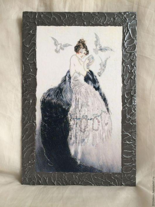 """Люди, ручной работы. Ярмарка Мастеров - ручная работа. Купить Панно """"Дама с голубями"""". Handmade. Белый, черный с серебром, холст"""