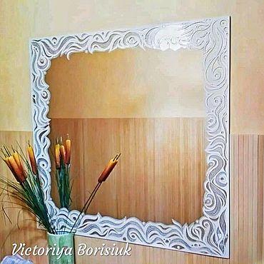 """Для дома и интерьера ручной работы. Ярмарка Мастеров - ручная работа Зеркало """"Белые винзеля"""". Handmade."""