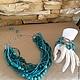 Комплект украшений колье ожерелье и браслет из натуральных камней бирюзы туркенита бирюзового цвета купить в Москве