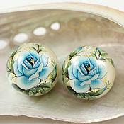 """Бусины тенша """"Голубая роза на перламутре"""" 16 мм"""