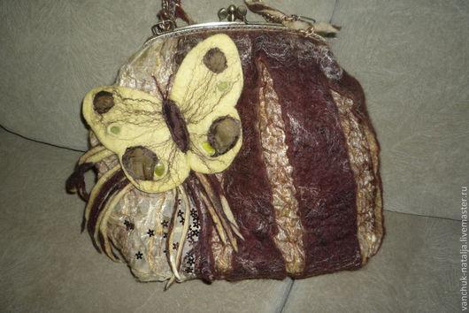 Женские сумки ручной работы. Ярмарка Мастеров - ручная работа. Купить валяная сумка с бабочкой. Handmade. Коричневый, желтый, лето