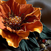 Цветы и флористика handmade. Livemaster - original item Leather flowers. Brooch