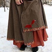 Одежда ручной работы. Ярмарка Мастеров - ручная работа Шерстяная юбка с лисой. Handmade.