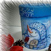 """Подарки к праздникам ручной работы. Ярмарка Мастеров - ручная работа Зимний круглый короб """"Снеговик"""". Handmade."""