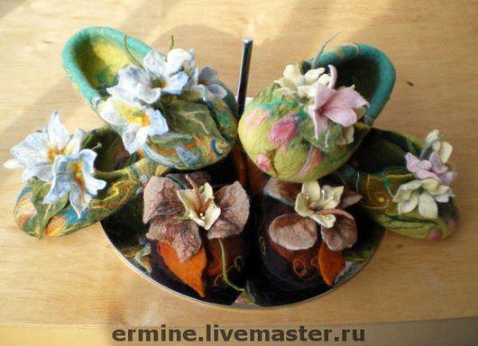 Handmade Shoes handmade. Livemaster - handmade. Buy felted Slippers'Candy'.Felted slippers, shoes home, slippers from wool, leather