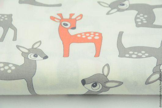Шитье ручной работы. Ярмарка Мастеров - ручная работа. Купить 100% хлопок, Польша 2, оленята серо-оранжевые. Handmade.