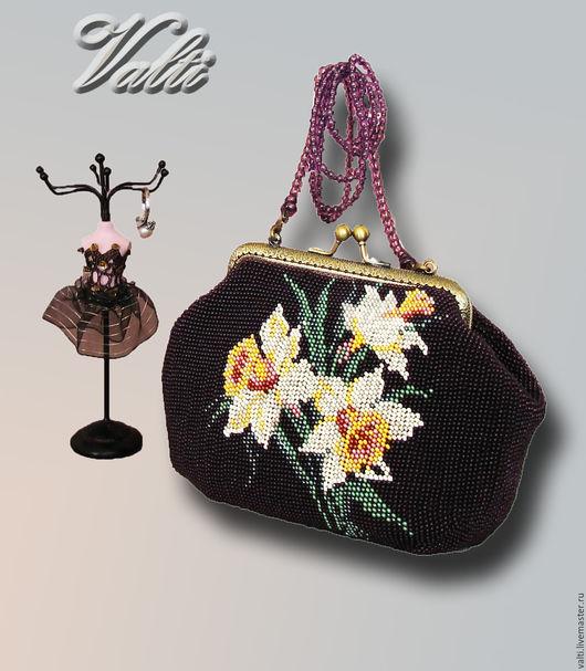 Женские сумки ручной работы. Ярмарка Мастеров - ручная работа. Купить сумочка театральная. Handmade. Тёмно-фиолетовый, бисер