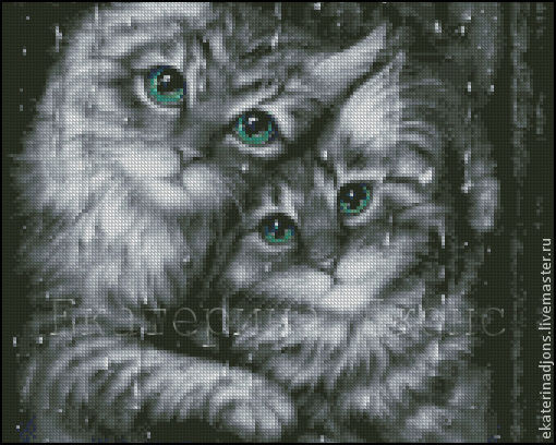 """Скрин схемы для вышивки крестом """"Котики""""."""