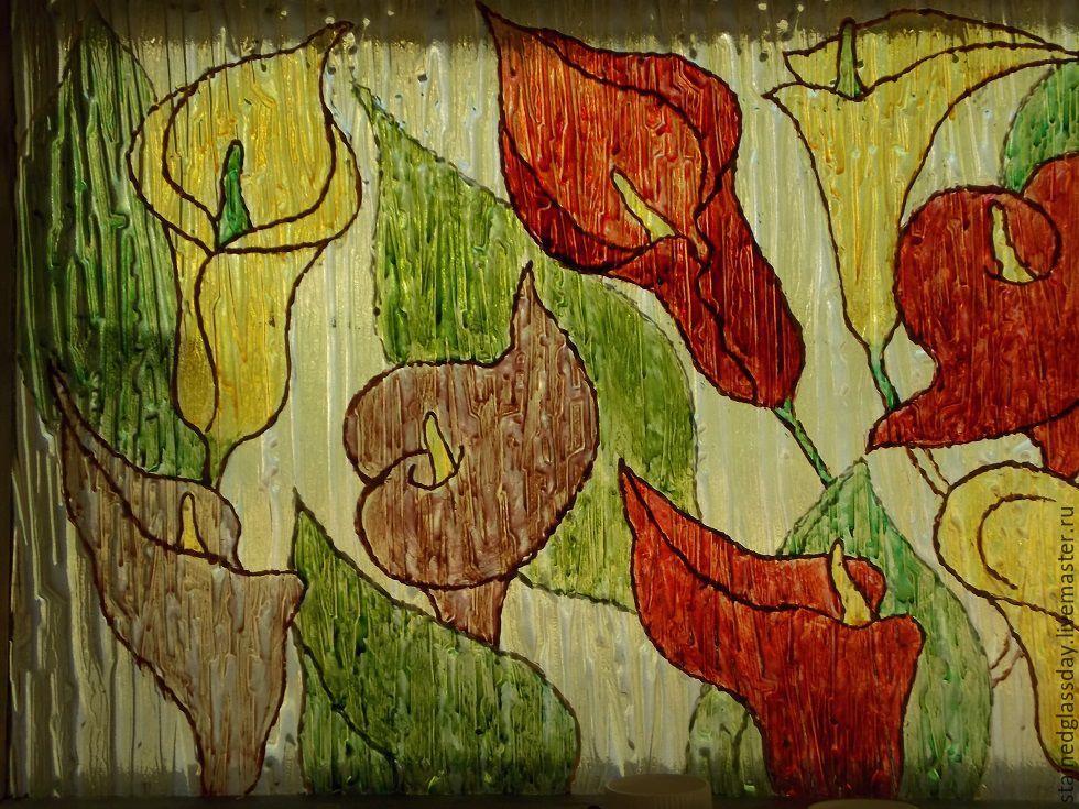 Роспись окон - фрагмент Цветные каллы  Художник по стеклу Катерина Макарова