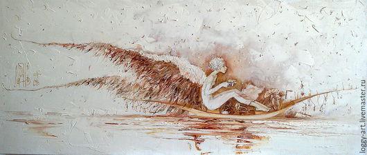 """Символизм ручной работы. Ярмарка Мастеров - ручная работа. Купить """"По реке сновидений....   """". Handmade. Бежевый, картина для интерьера"""