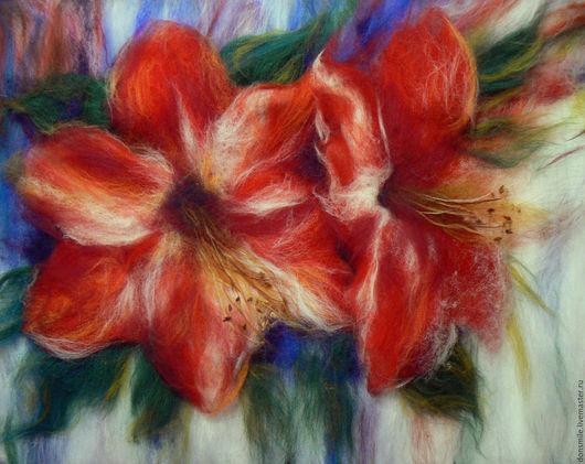 """Картины цветов ручной работы. Ярмарка Мастеров - ручная работа. Купить Картина из шерсти """"Цветы удачи"""". Handmade. Комбинированный"""