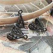 Материалы для творчества handmade. Livemaster - original item Bale clamp with zircons 10x9x5 mm black (3338). Handmade.