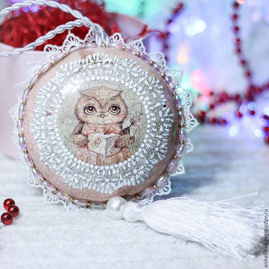Новый год 2017 ручной работы. Ярмарка Мастеров - ручная работа. Купить Новогоднее интерьерное украшение подвес Совушка. Handmade.
