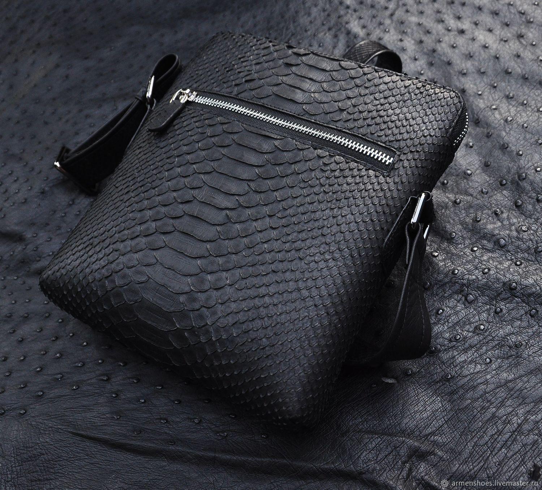 Men's tablet bag, shoulder bag, made of Python skin, in black, Men\'s bag, Tosno,  Фото №1