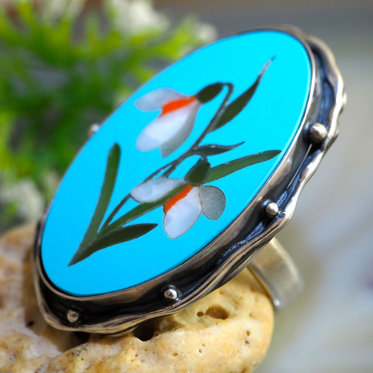Snowdrops Ring Stone Mosaic Statement Ring Sterling Silver Jewelry, Rings, Prague,  Фото №1