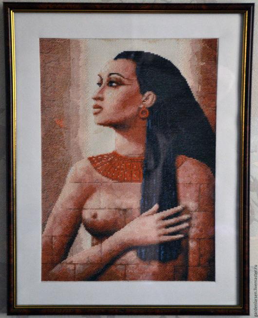 """Люди, ручной работы. Ярмарка Мастеров - ручная работа. Купить Картина вышитая крестом """"Египетские истории"""". Handmade. Коричневый"""