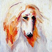 """Картины и панно ручной работы. Ярмарка Мастеров - ручная работа Картина """"Год собаки"""", холст, масло, оргалит, 19х15 см. Handmade."""