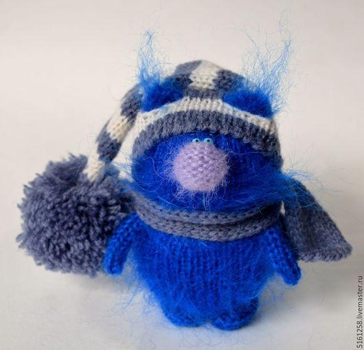 """Игрушки животные, ручной работы. Ярмарка Мастеров - ручная работа. Купить Вязаный кот """"Синий-синий"""". (Игрушки сувениры коты). Handmade."""