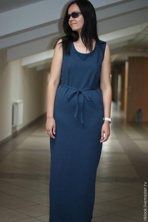 Платья ручной работы. Ярмарка Мастеров - ручная работа. Купить Длинное платье синее. Handmade. Розовый, трикотажное платье