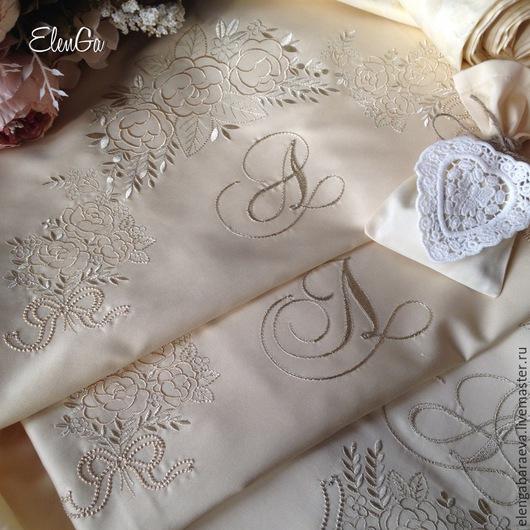 Текстиль, ковры ручной работы. Ярмарка Мастеров - ручная работа. Купить Постельное белье с вышивкой - Крем сатин-тенсель ПРИДАНОЕ НЕВЕСТЫ. Handmade.