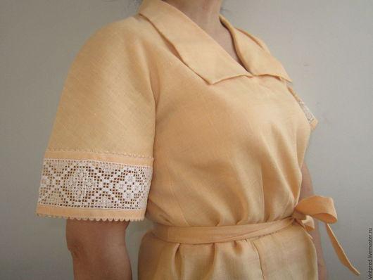 Одежда. Ярмарка Мастеров - ручная работа. Купить винтажное платье из льна. Handmade. Бежевый, лён