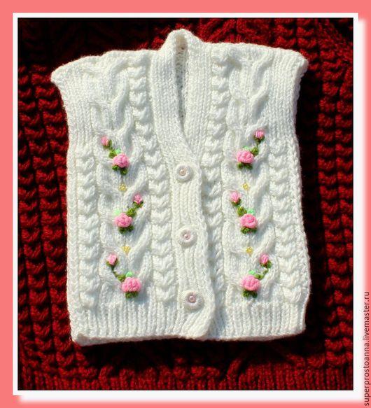 Одежда для девочек, ручной работы. Ярмарка Мастеров - ручная работа. Купить вязаный жилет для девочки. Handmade. Белый, детский жилет