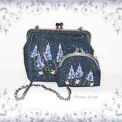 Сумки и аксессуары handmade. Livemaster - original item Denim handbag and purse with embroidery. Handmade.