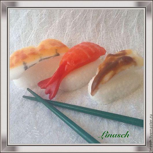 Мыло ручной работы. Ярмарка Мастеров - ручная работа. Купить Набор суши малый. Handmade. Рыжий, роллы, 23 февраля