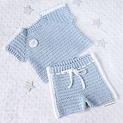Работы для детей, handmade. Livemaster - original item Sports shorts and t-shirt, knitted suit for newborn baby blue. Handmade.