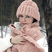 Аксессуары handmade. Livemaster - original item Scarf knitted in a cage Faded rose. Handmade.