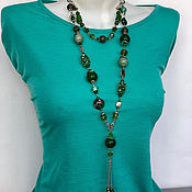 Украшения handmade. Livemaster - original item the necklace made of natural stones. Long elegant green beads. Handmade.