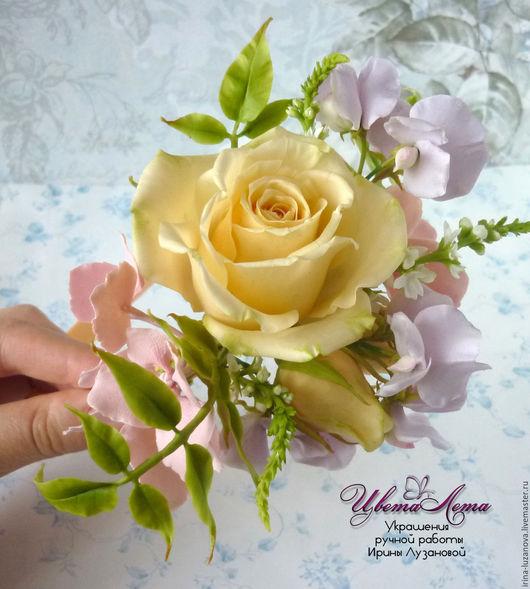Ободок (обруч) для волос с цветами из полимерной глины (холодного фарфора). Роза из полимерной глины, душистый горошек из полимерной глины, гортензия из полимерной глины