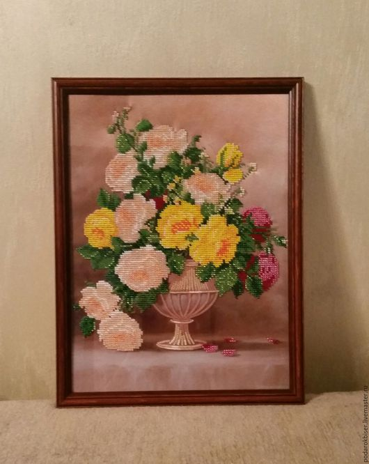 Картины цветов ручной работы. Ярмарка Мастеров - ручная работа. Купить Нежный букетик. Handmade. Вышивка бисером