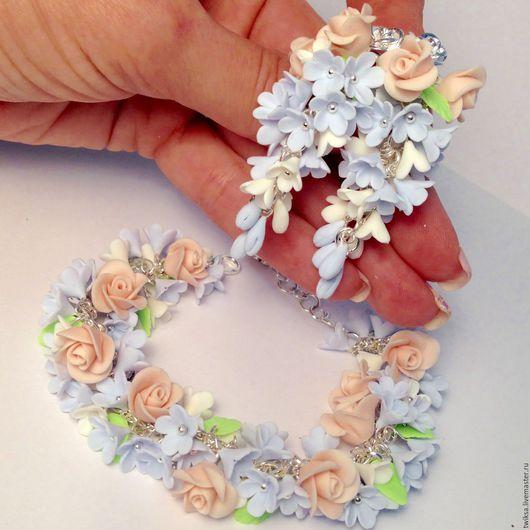 Браслеты ручной работы. Ярмарка Мастеров - ручная работа. Купить Браслет и серьги с розами и незабудками. Handmade. Комбинированный, розы, серебряный