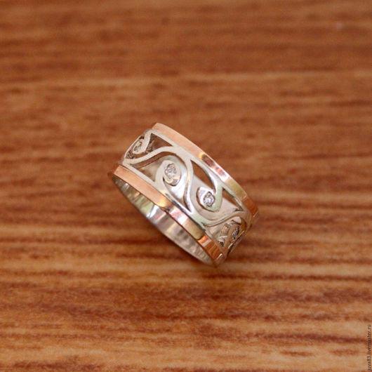 Кольца ручной работы. Ярмарка Мастеров - ручная работа. Купить Серебряное кольцо Вьюнок с золотыми накладками, серебро 925. Handmade.
