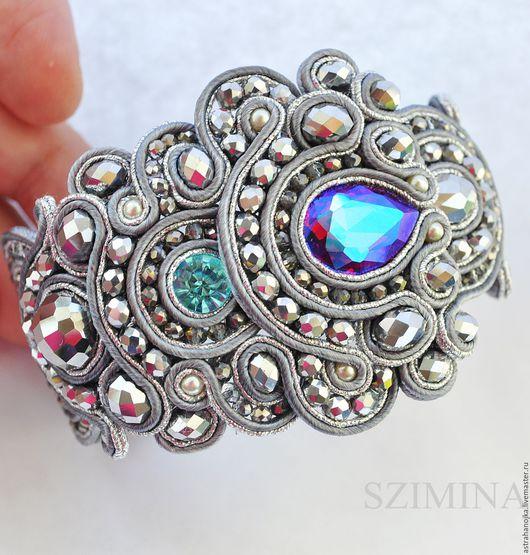 Сутажное украшение, браслет `Лавин` с  жемчугом и кристаллом. Сутажные украшения ручной работы.