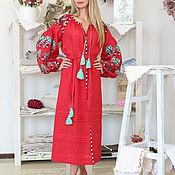 Одежда handmade. Livemaster - original item Dress red long straight with embroidery. Handmade.