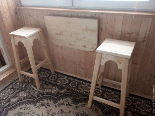 Мебель ручной работы. Ярмарка Мастеров - ручная работа. Купить комплект - 2 табурета барных и подвесной столик. Handmade. Бежевый