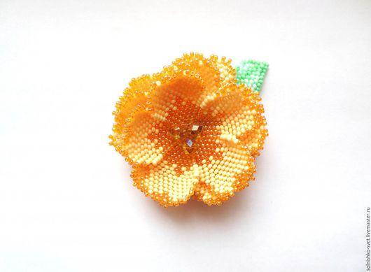 Броши ручной работы. Ярмарка Мастеров - ручная работа. Купить Брошь медовый цветок. Handmade. Оранжевый, цветок ручной работы