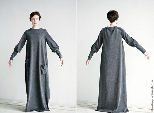 Платья ручной работы. Ярмарка Мастеров - ручная работа. Купить Платье в пол из трикотажа. Handmade. Серый, платье, ретро стиль