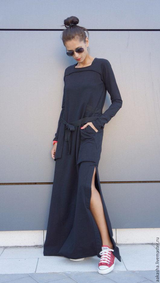 Платье макси из трикотажа, с большими карманами! Уникальный и экстравагантный стиль! Платье на каждый день!