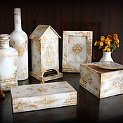 Комплект для кухни Белое золото Набор для кухни большой Декупаж