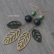 Украшения handmade. Livemaster - original item Earrings with leaves and beaded beads made of natural stone (0392). Handmade.