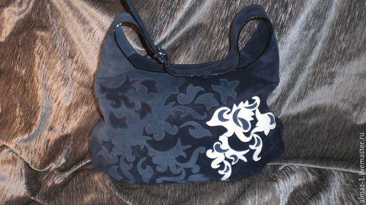 Женские сумки ручной работы. Ярмарка Мастеров - ручная работа. Купить Сумка мешок-замшевая синяя. Handmade. Тёмно-синий
