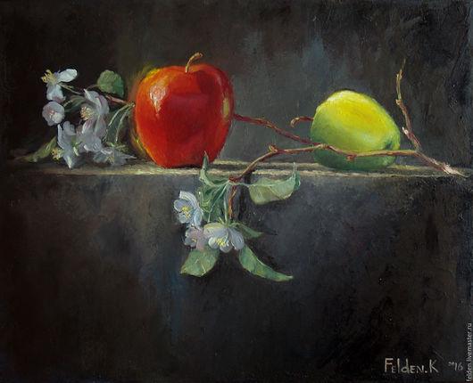 Натюрморт ручной работы. Ярмарка Мастеров - ручная работа. Купить яблоки. Handmade. Комбинированный, холст, холст масло, натюрморт, яблоки