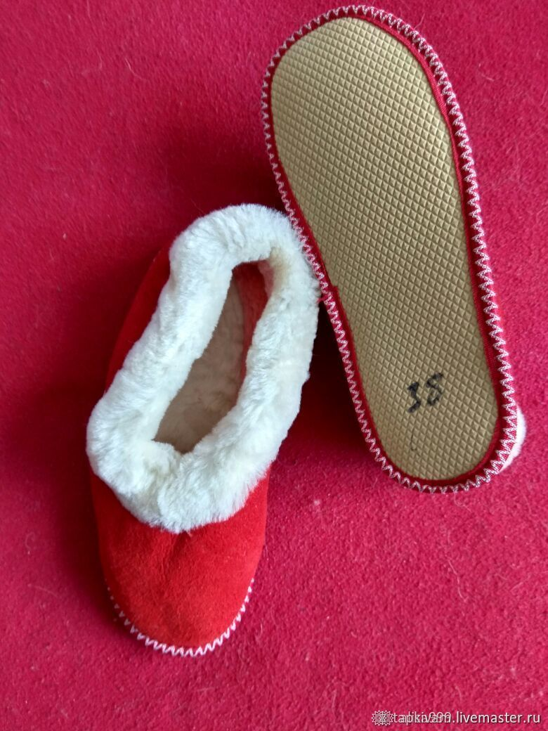Mouton chuvyaks on soft soles red, Slippers, Moscow,  Фото №1